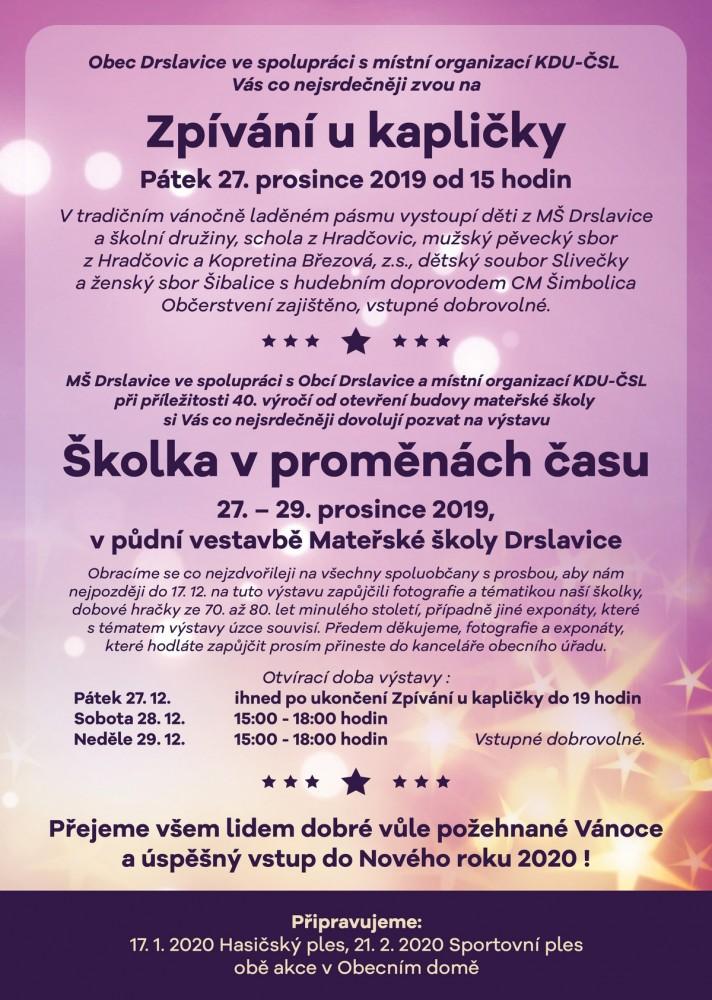 Vánoční zpívání u kapličky - Drslavice 2019